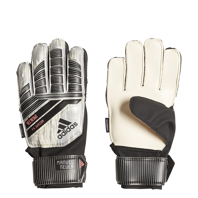 Adidas Predator Fingersaveジュニアサッカー手袋 B0787CN5DT Size 5|White/Silver Metal/Black/Solar Red White/Silver Metal/Black/Solar Red Size 5