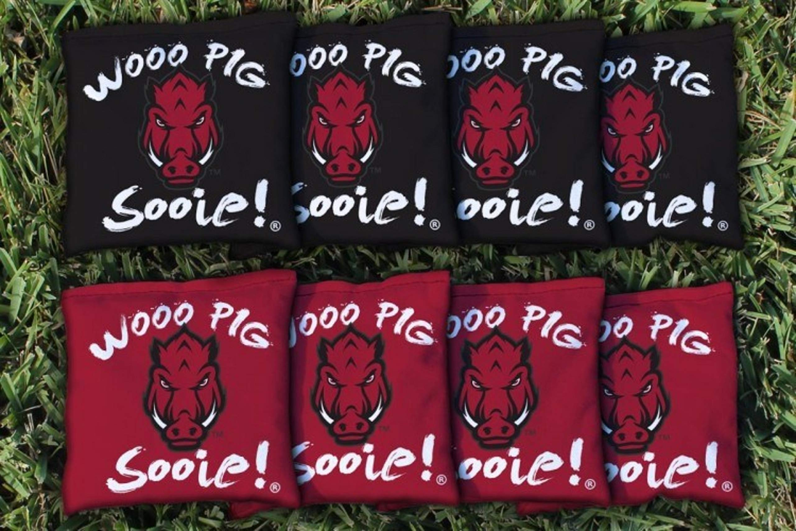 Victory Tailgate NCAA Regulation All Weather Cornhole Game Bag Set - 8 Bags Included - Arkansas Razorbacks Wooo Pig Sooie by Victory Tailgate
