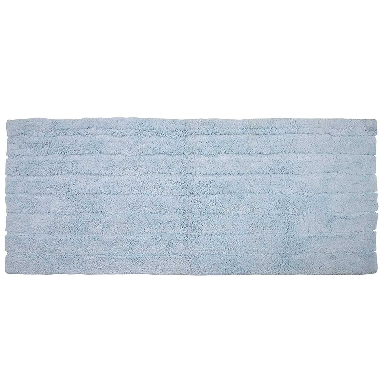 Pure Cotton Soft Bathroom Mat Hotel Quality Shower Mat- Blue Cotton Bath Rug Extra Absorbent Machine Washable Luxury Feel Plush Bath Rug Runner Oversize Non Slip Bath Rug 22 x 60 Inch