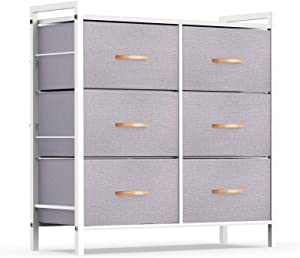 ROMOON Dresser Organizer with 6 Drawers, Fabric Storage Dresser Tower for Bedroom, Hallway, Entryway, Closets - Gray