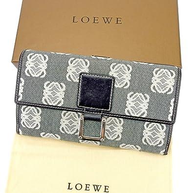 3f623e95ea86 (ロエベ) Loewe 長財布 財布 Wホック ファスナー ブラック ホワイト 白 シルバー アナグラム柄