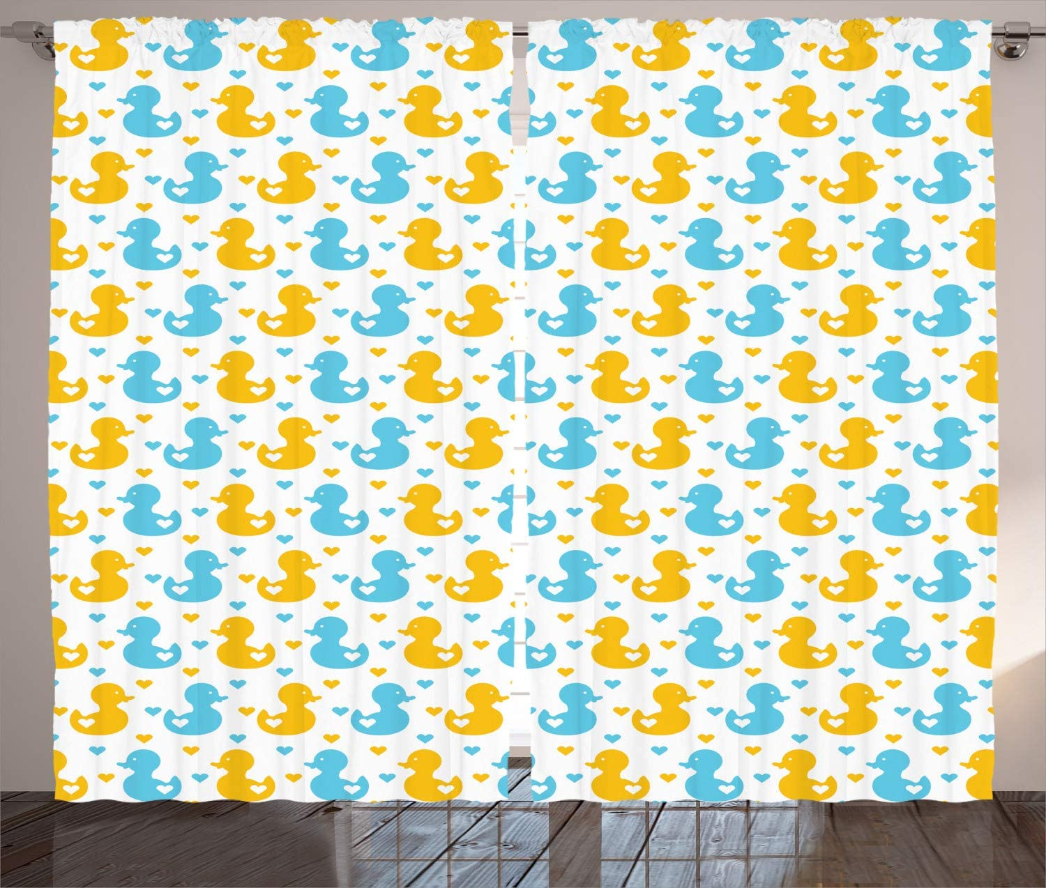 Fabric Panel Babies Room Yellow Ducks Chicks Mother Duck and Ducklings