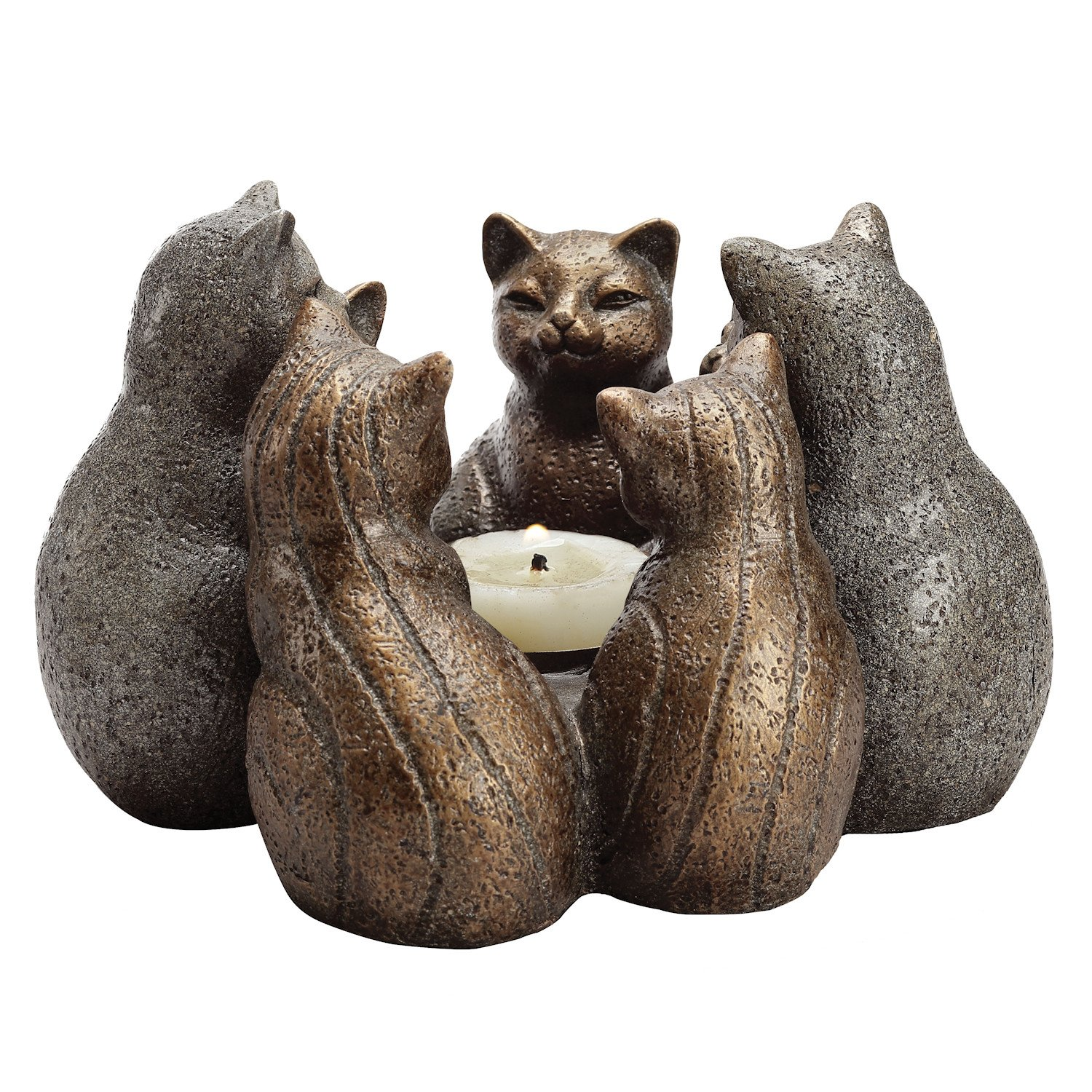 SPI Home Circle of Cats Candleholder - Bronze Finished Ring of Kittens Sculpture with Center Candle Holding Platform