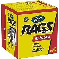SCOTT Rags In a Box (75260), White, 200 Shop Towels per Box, Case of 8