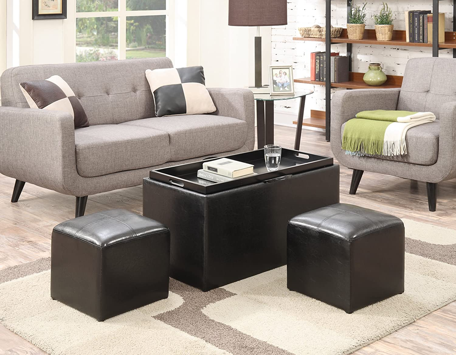 Convenience Concepts Designs4Comfort Sheridan Storage Bench with 2 Side Ottomans, Black