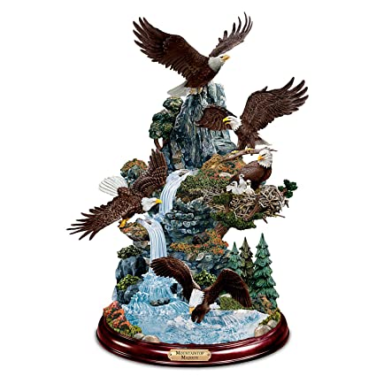Mountaintop Eagles Masterpiece Sculpture with 5 Hand Painted 3D Nature  Scenes by The Bradford Exchange