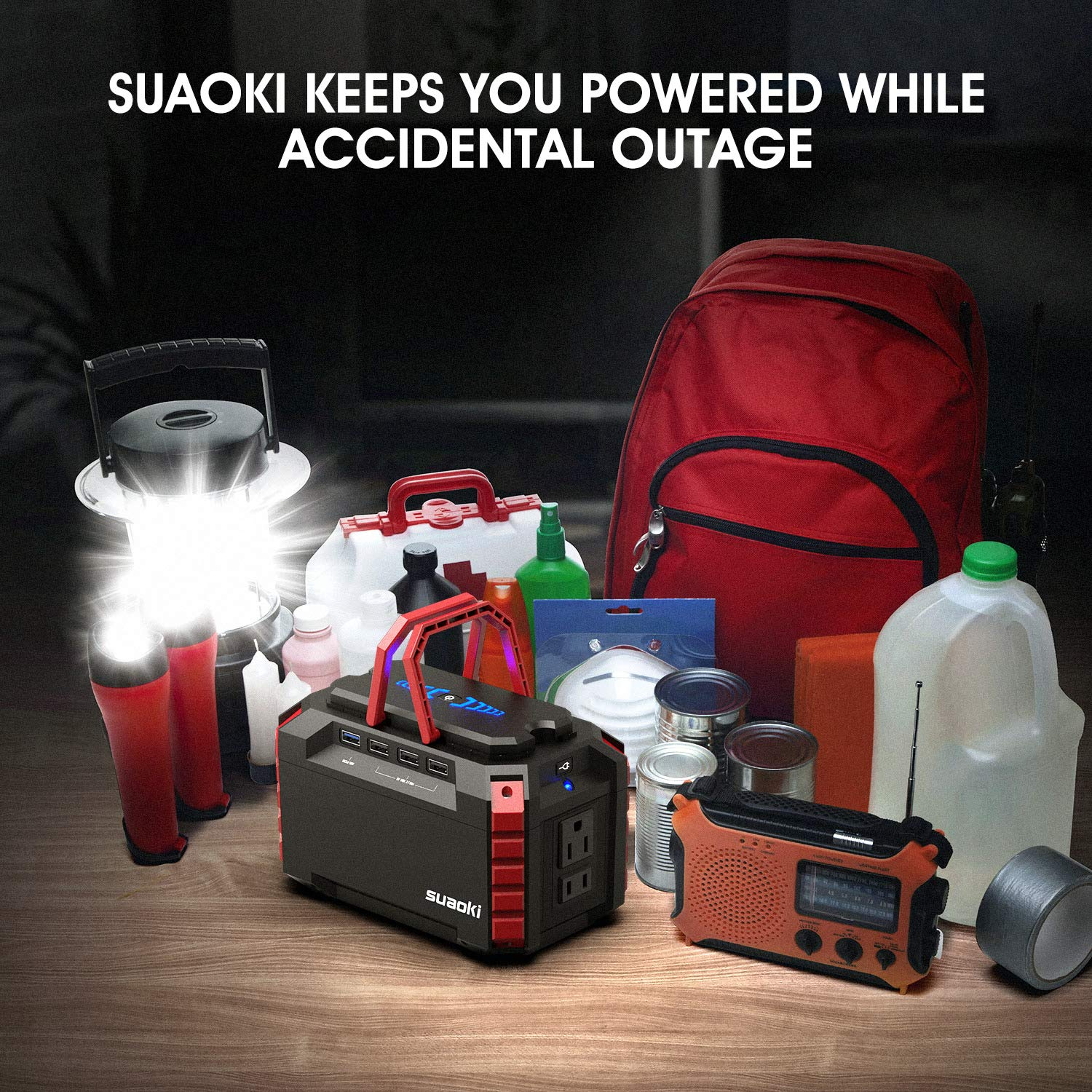 SUAOKI Portable Power Station, 150Wh 100W Camping Generator Lithium Power Supply UL Certified with Dual 110V AC Outlet, 4 DC Ports, 4 USB Ports, LED Flashlights for Camping Travel Emergency Backup