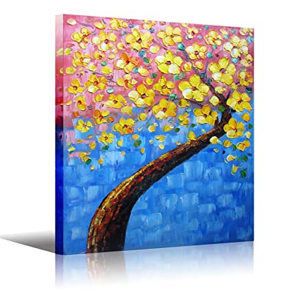 Amazoncom Wooden Framed Palette Knife Painting Yellow Tree Wall