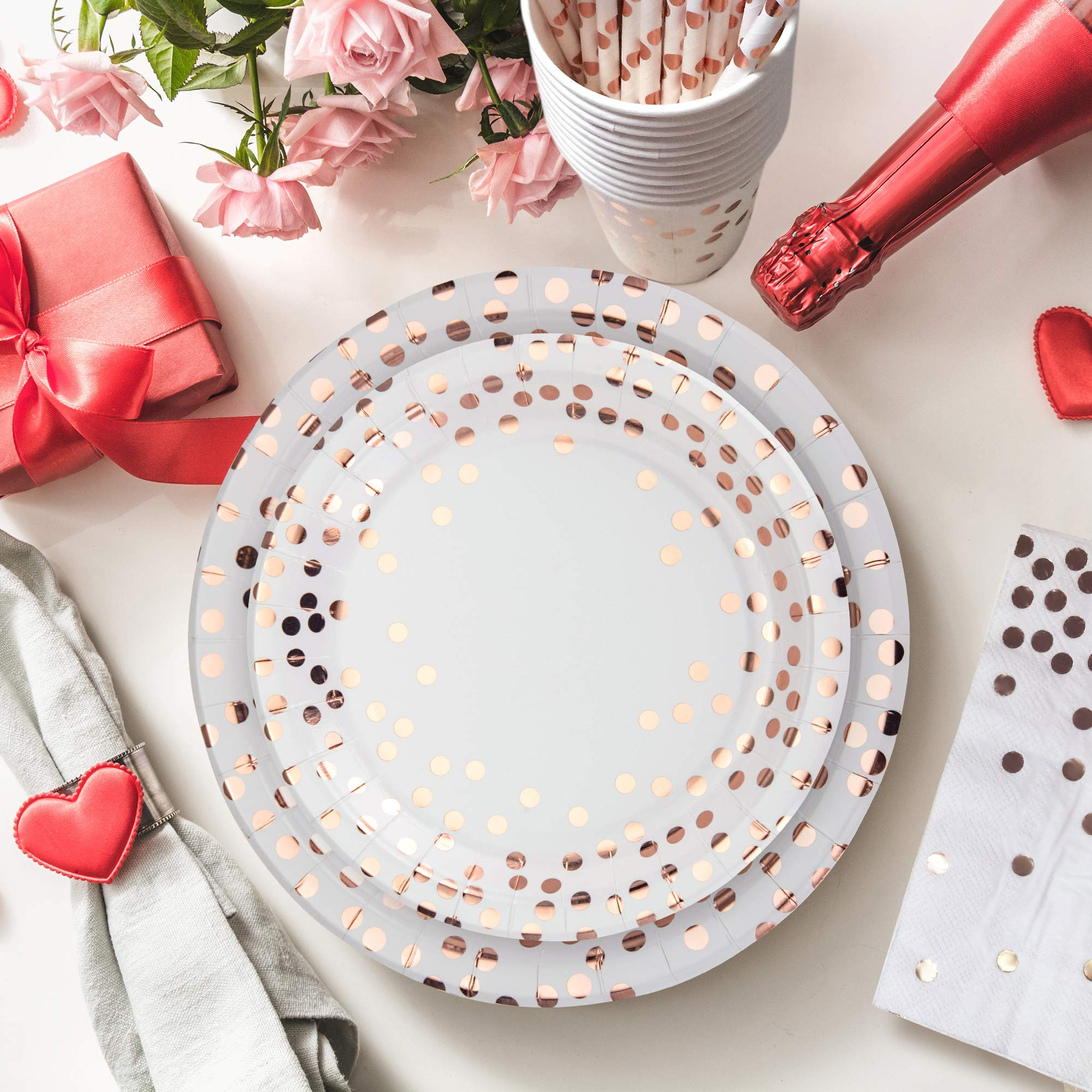 251PCS Rose Gold Disposable Paper Plates Party Supplies - Dinnerware Set with 50 Dessert Plates 50 Dinner Plates 50 9oz Cups 50 Straws 50 Napkins 1 Tablecloth Wedding Birthday Baby Shower