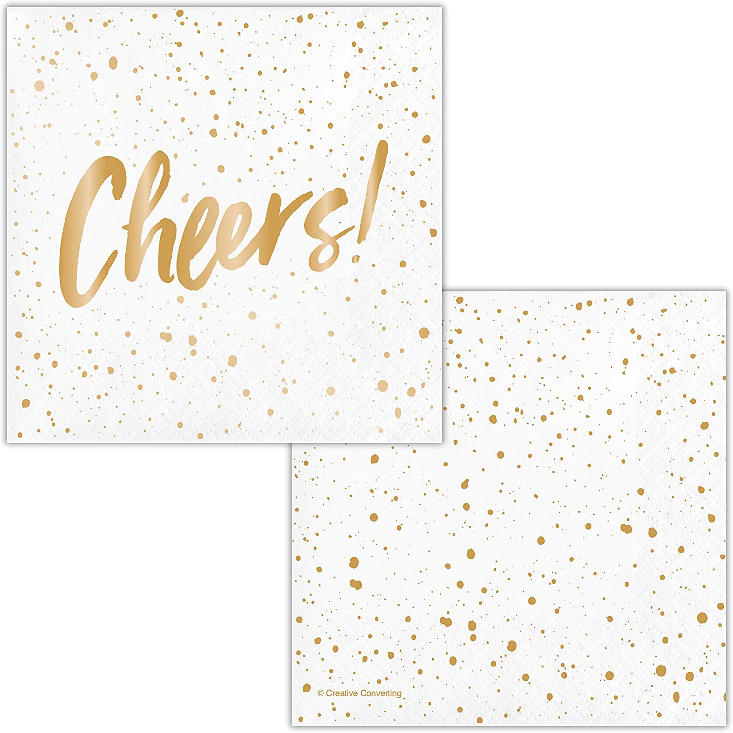 Cheers Gold Foil Beverage Napkins by Elise, 48 ct
