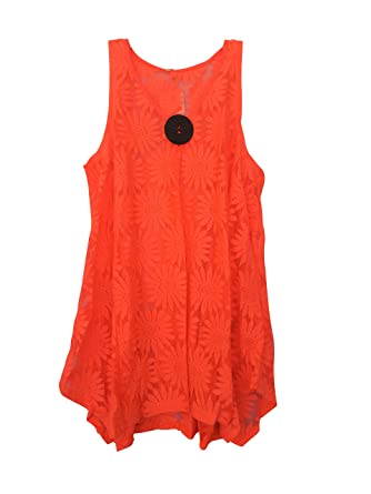 7c8cf94446 India Boutique Lace Beach Swimsuit Cover Up Blouse Top / Tunic, Resort Wear,  One Size, Bright Coral at Amazon Women's Clothing store: