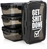 Hydra Prep - [3 PACK] 30oz Reusable Meal Prep Storage Containers, BPA FREE, Leakproof Food Containers with snap on lids, Meal Prep Containers, Microwave Safe. (Get Shit Done)