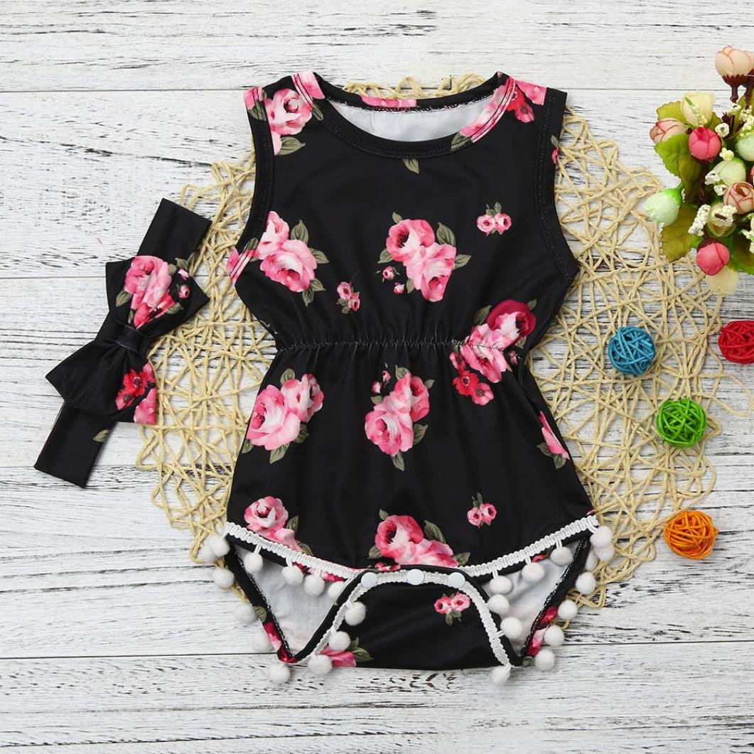 77c6a7fe0b2e Amazon.com  Toraway Toddler Romper Outfits 2Pcs Set Baby Girls Floral  Tassel Sleeveless Romper Jumpsuit + Headband Clothes Outfits Set  Clothing