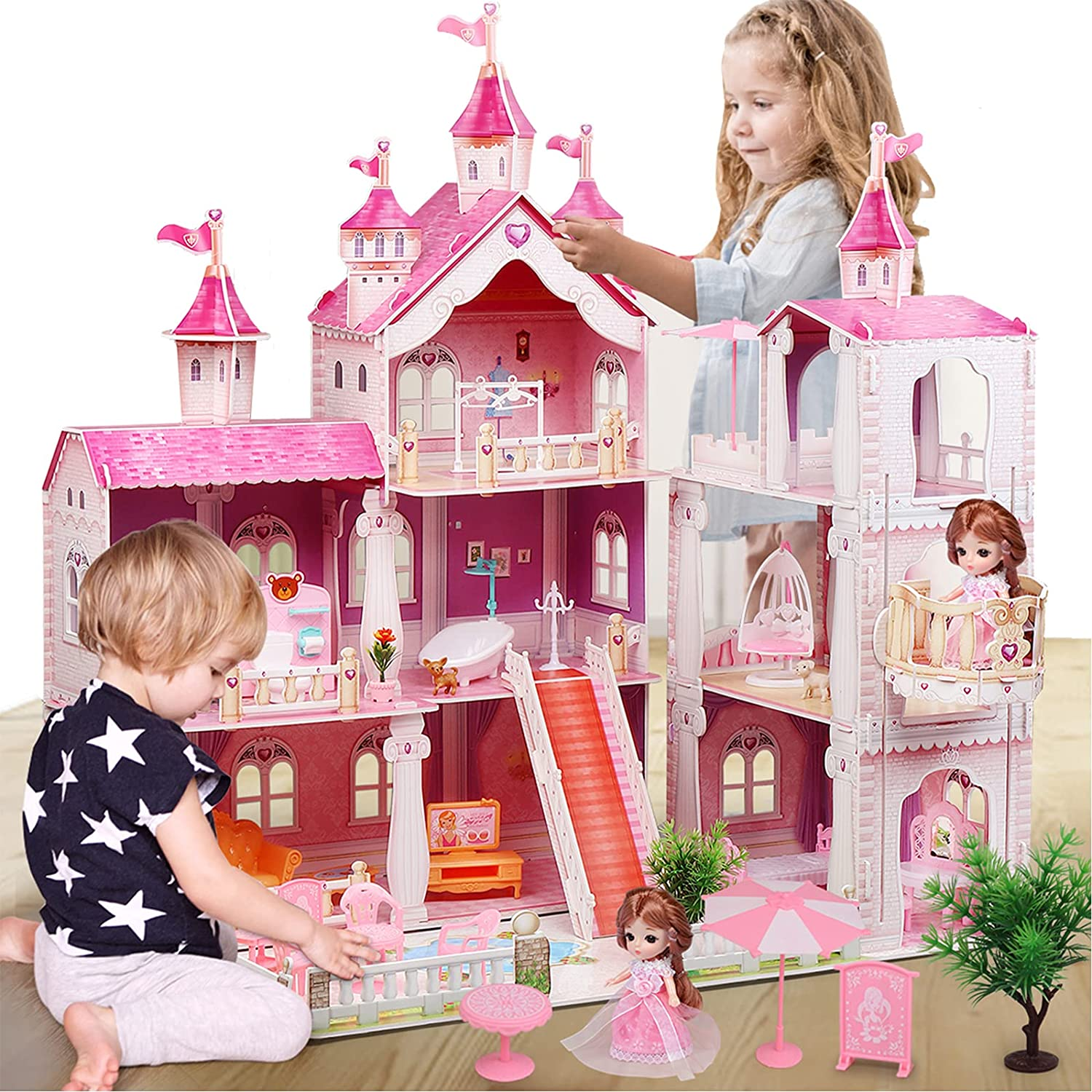 Huge Dollhouse with Light, 3 Floors Doll House with 1 Doll, 8 Rooms and Furniture Accessories, Dreamhouse Building DIY Creative Gift for Girls Toddlers