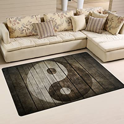 WellLee Area Rug 2.7'x1.8',Tai Chi Bagua Yin Yang Painted On Wooden Floor Rug Non-Slip Doormat for Living Dining Dorm Room Bedroom Decor: Toys & Games