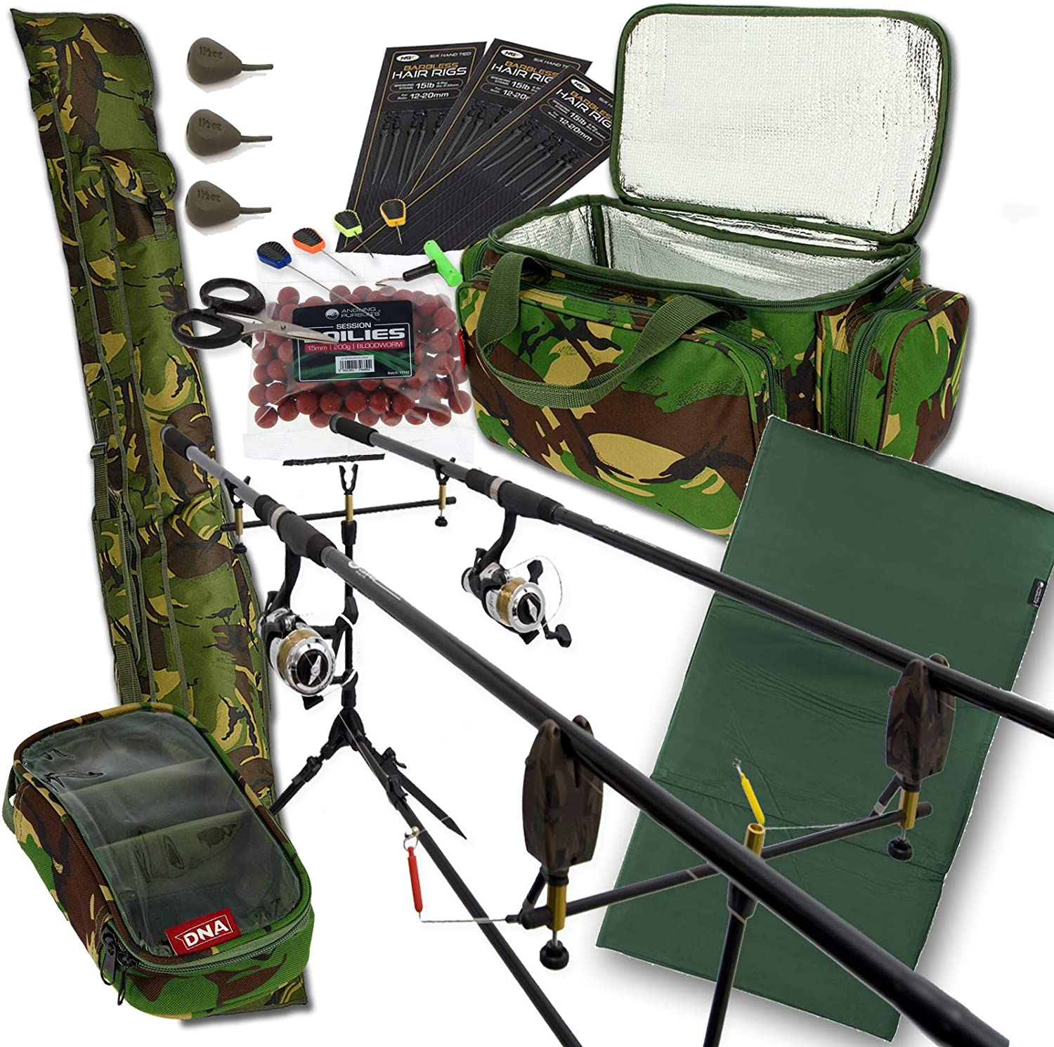 Complete Carp Fishing Set Up 3 Rods Reels Alarms Luggage Tackle Holdall Bait