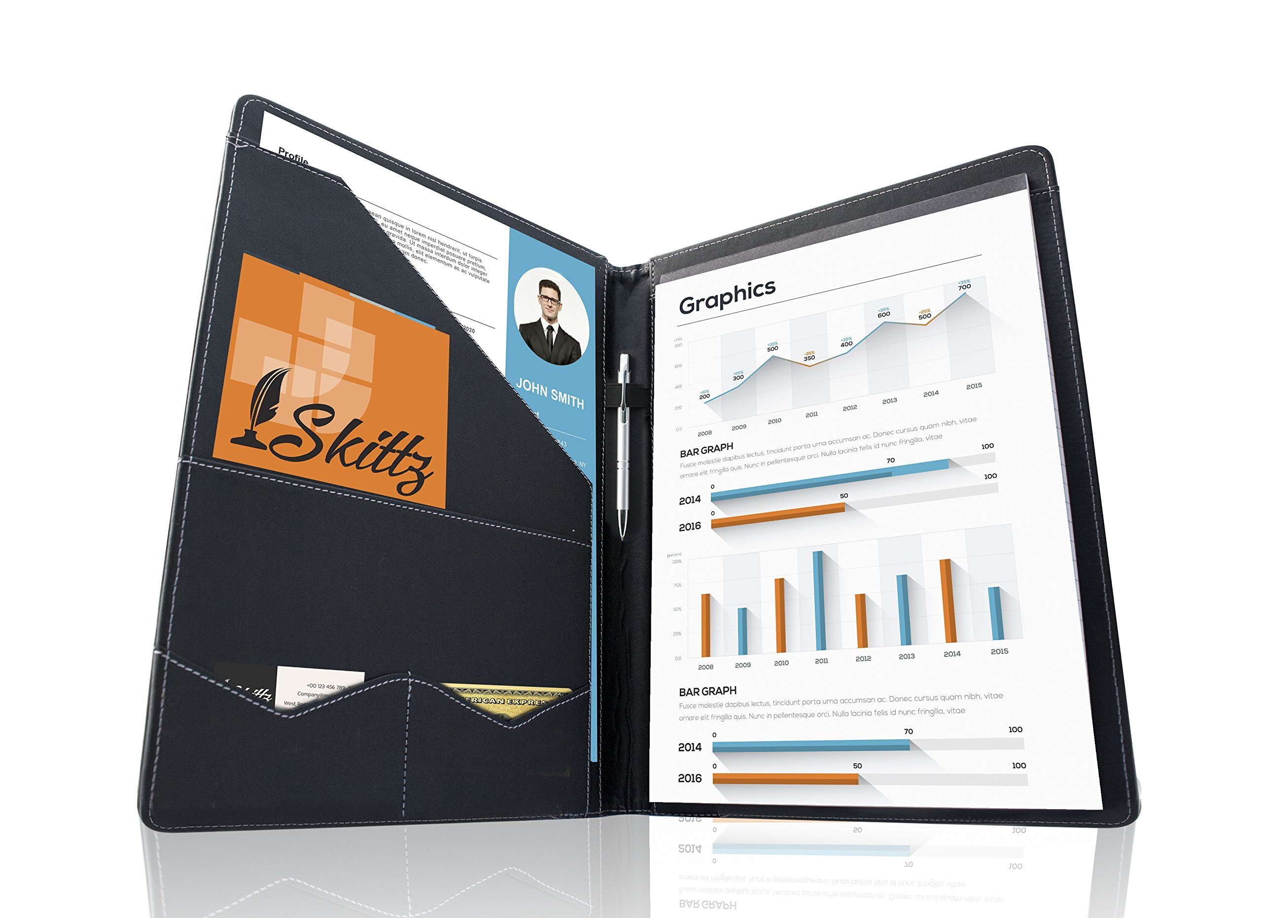 SKITTZ Portfolio Folder Interview Legal Padfolio Leather Document Organizer
