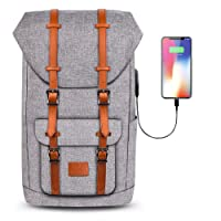 "Pokarla Laptop School Backpack 30L College Vintage Rucksack Commuter Retro Anti-Theft Carry On Business Daypack Casual Travel Satchel Bag Unisex USB Charging Port Fits 15.6"" Laptop/Tablets Grey"
