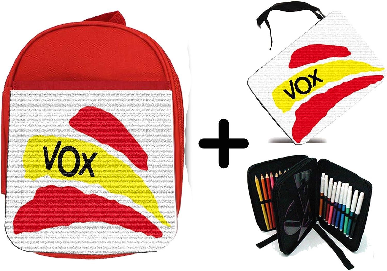 PACK MOCHILA ROJA Y ESTUCHE PARTIDO VOX BANDERA ESPAÑOLA school material: Amazon.es: Oficina y papelería