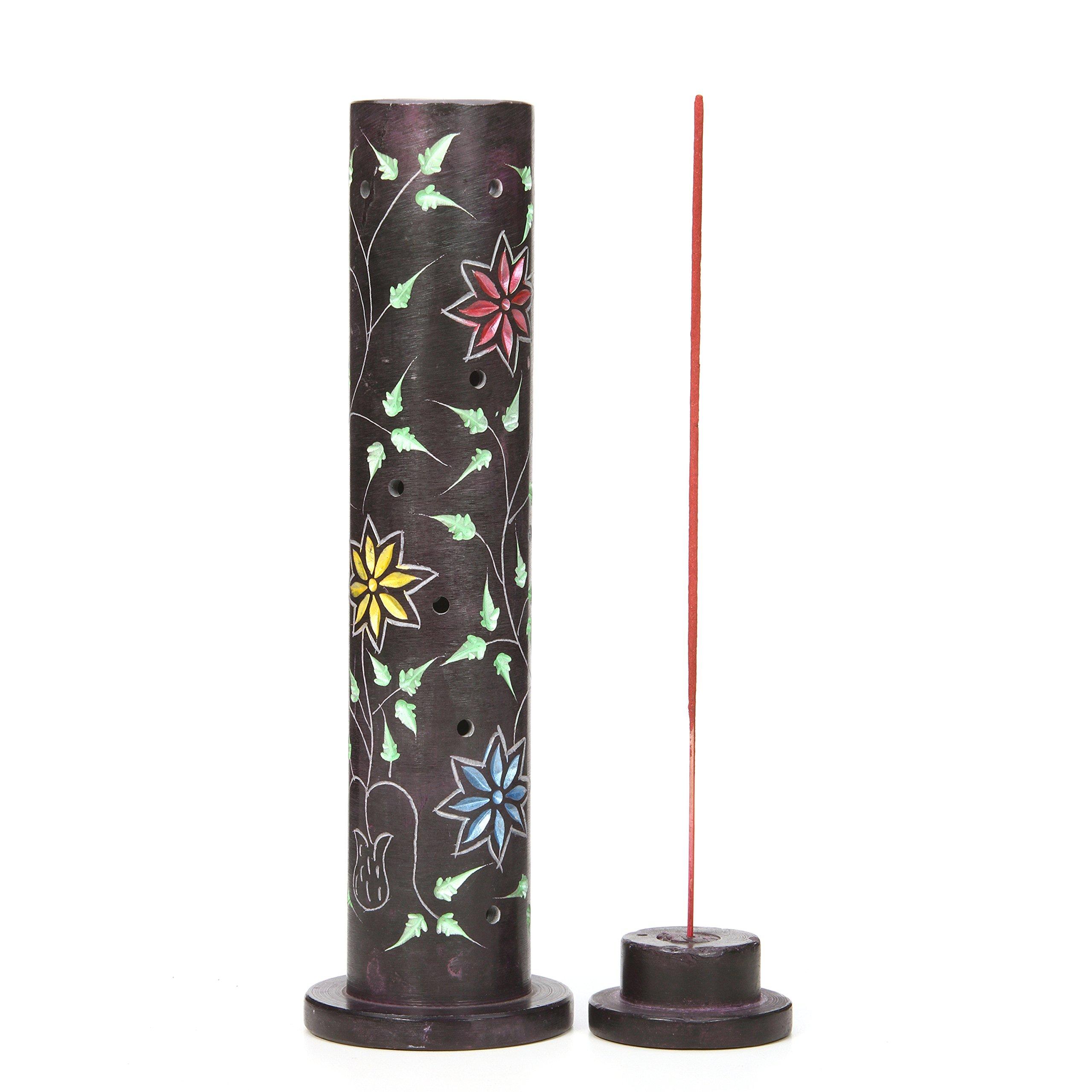 Hosley Aromatherapy 10.75'' High Soapstone Tower Incense Holder. Ideal for Aromatherapy, Zen, Spa, Vastu, Reiki Chakra Settings. O4