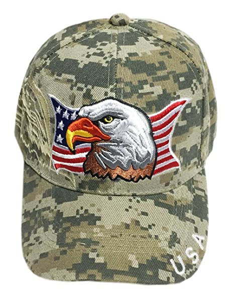 e248ea4afbe18c Aesthetinc Patriotic USA American Flag Print Baseball Cap Embroidered (Army  Digital Camo)