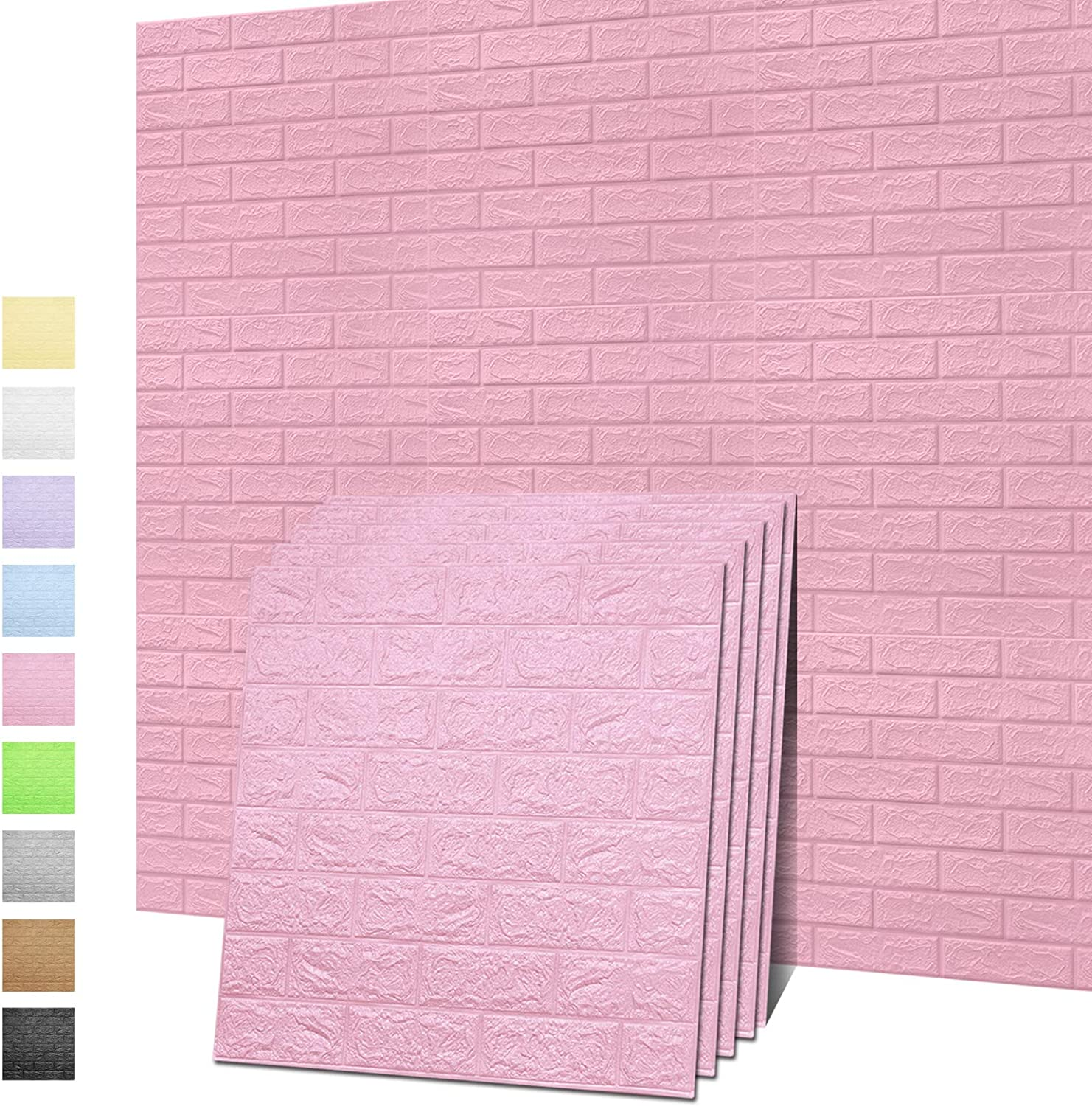 Sodeno 3D Wall Panels, 10 Pack 3D Brick Self-Adhesive Waterproof PE Foam Wallpaper for Interior Wall Tile Decor, TV Wall,Bathroom, Living Room Home Decoration- 39 Sq Ft (Pink)