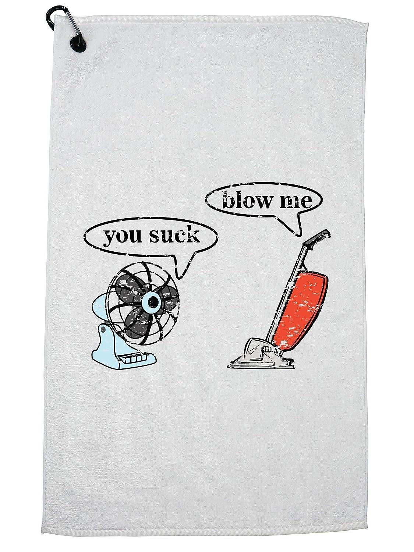 HollywoodスレッドYou Suck Blow Me – 掃除機ファングラフィックゴルフタオルカラビナ付きクリップ   B07G3SML73