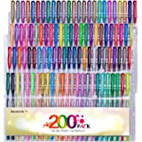 Reaeon 200 Gel Pens Coloring Set - 100 Colored Gel Pen plus 100 Refills for Adults Coloring Books, Drawing, Writing