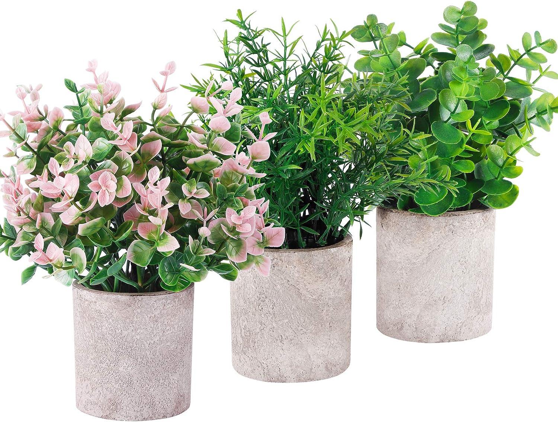 Funarty Mini Fake Plants Potted Plants Artificial Eucalyptus Greenery Décor in Pot Faux Plants for Home Décor Office Décor 3 Pack