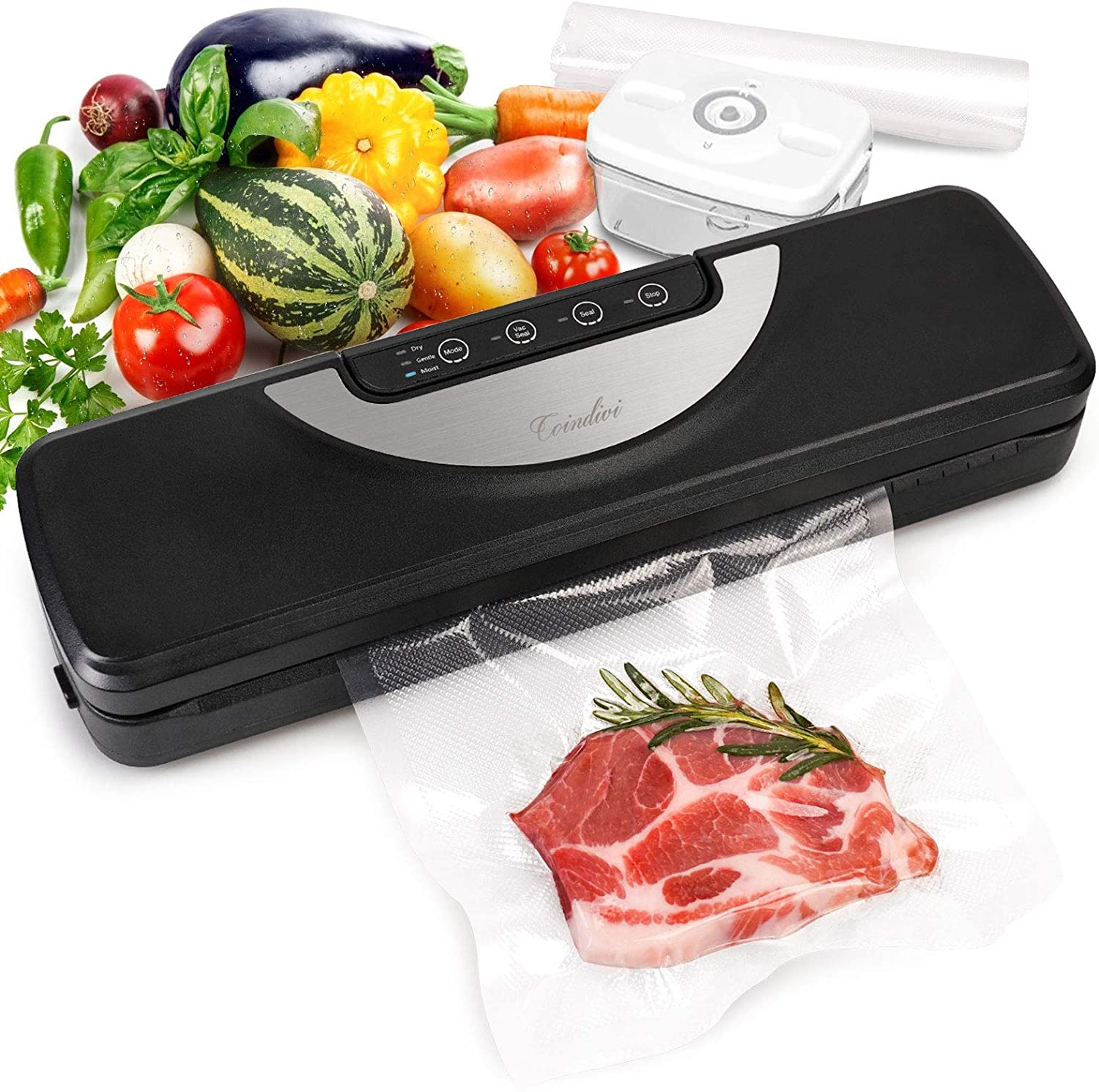Vacuum Sealer Machine with Cutter & Bags, Automatic Food Meat Savers with Vac Pipe for Jar, Conindivi Air Sealing System Machine with Dry, Gentle, Moist Mode for Food Preservation, Led Touch Controls