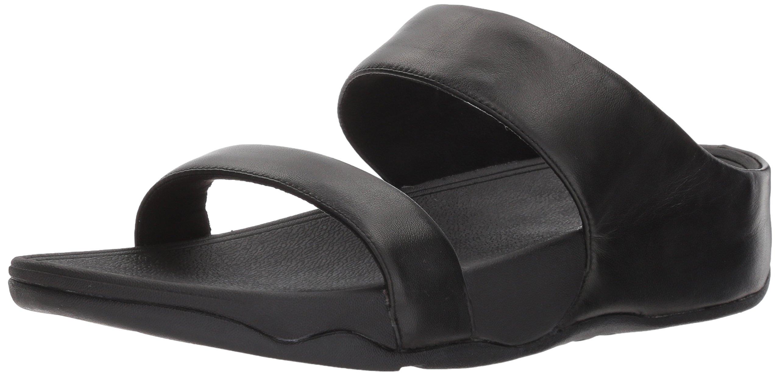 FitFlop Women's Lulu Leather Slide Sandal, Black, 8 M US