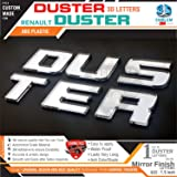 CarMetics 3D Car Stickers Accessories Mirror Finish Duster 3D Letters for Renault Duster Car, Free Gang of Dusters Sticker (Mirror Finish)