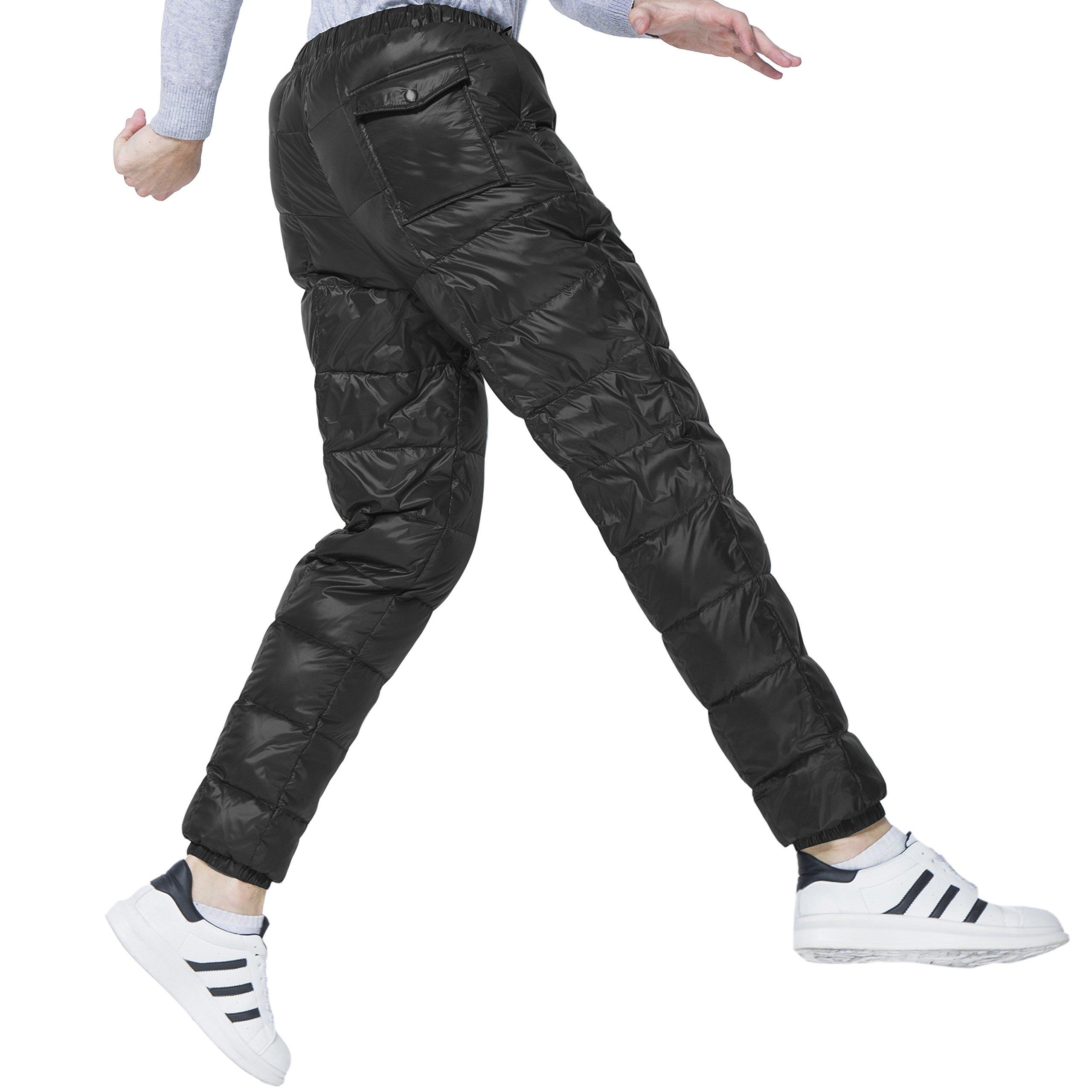 QIYU PANLTCY Men's Packable Down Puffer Pants Winter Warm Lightweight Snow Trousers (Medium, Black)