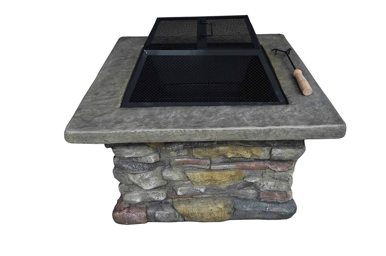 Belmont Home Stone Square Wood Burning Fire Pit