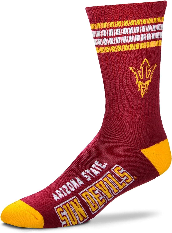 For Bare Feet NCAA 4 Stripe Deuce Crew Men Socks-Arizona State Sun Devils-Medium