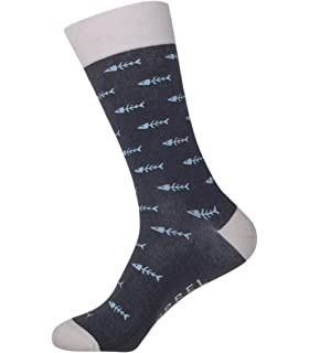 BAYRREL - Calcetines divertidos de algodón peinado para hombre y mujer - Modelo Fishbone