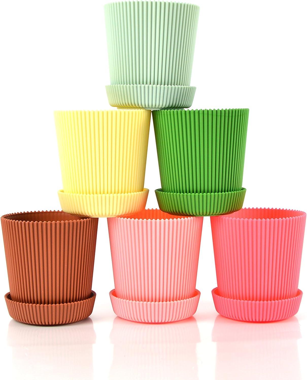 Truedays 4.5 Set of 6 Multicolored Circle Flower Plant Pots Planters with Saucer Pallet Decorative