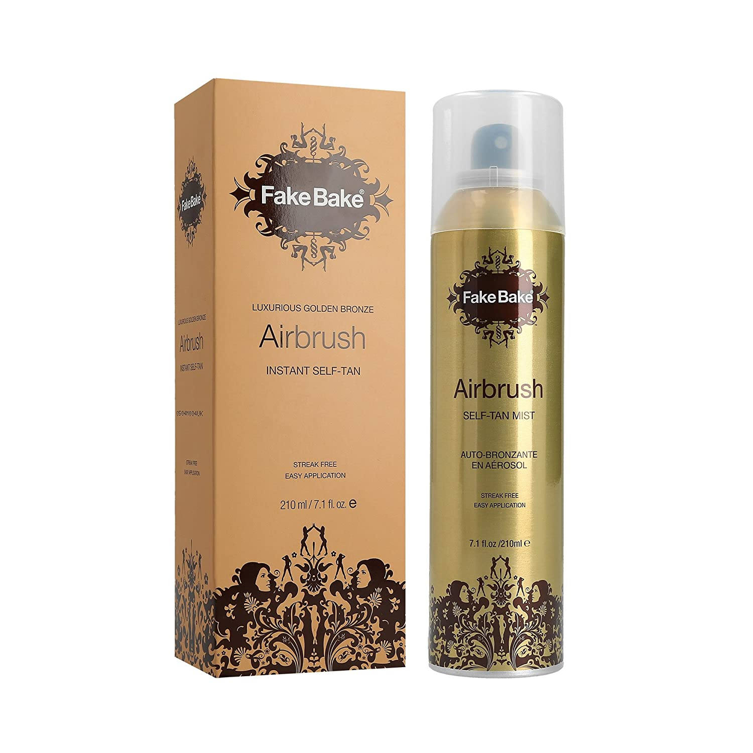 Instant Self Tanning Spray AirBrush by Fake Bake | Fast Drying Formula that Develops the Perfect Golden Bronze Tan in Few Hours | Refined 360˚ Nozzle Gives a Continuous Spray at Any Angle | 7.1 fl oz FBA12