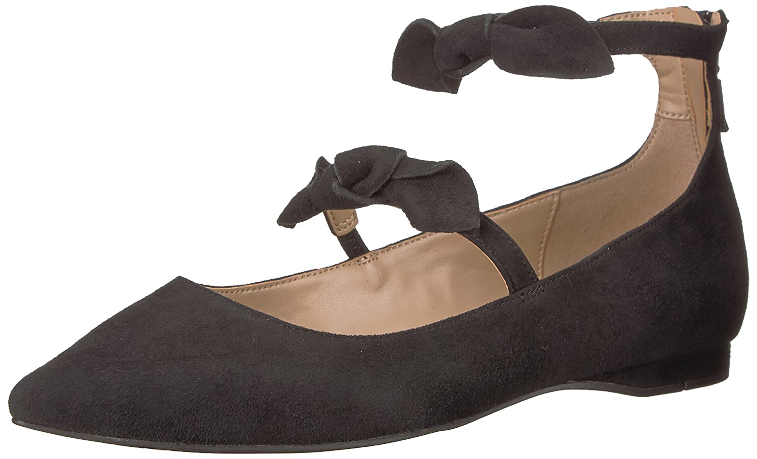 The Fix Women's Emilia Double Bow Pointed-Toe Flat B074K3KXLB 7.5 B(M) US|Black Suede