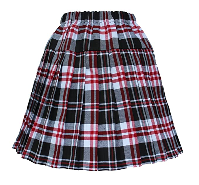 ff53fe06e0 Beautifulfashionlife Women`s Double Layer Elasticated Pleated Skirt(M,  Black Red white)