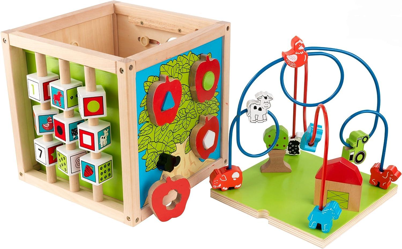 KidKraft 63243 Cubo con laberinto de cuentas de madera para niños, juego educativo para identificar formas, colores, números y letras