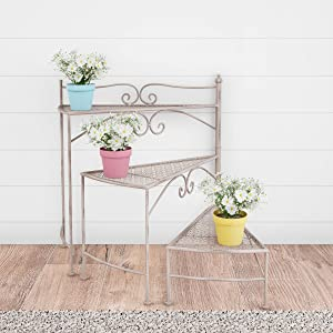 Pure Garden 50-LG1161 Plant Stand – 3-Tier Indoor or Outdoor Folding Spiral Stair Wrought Iron Home and Garden Display with Staggered Shelves (Antique White)