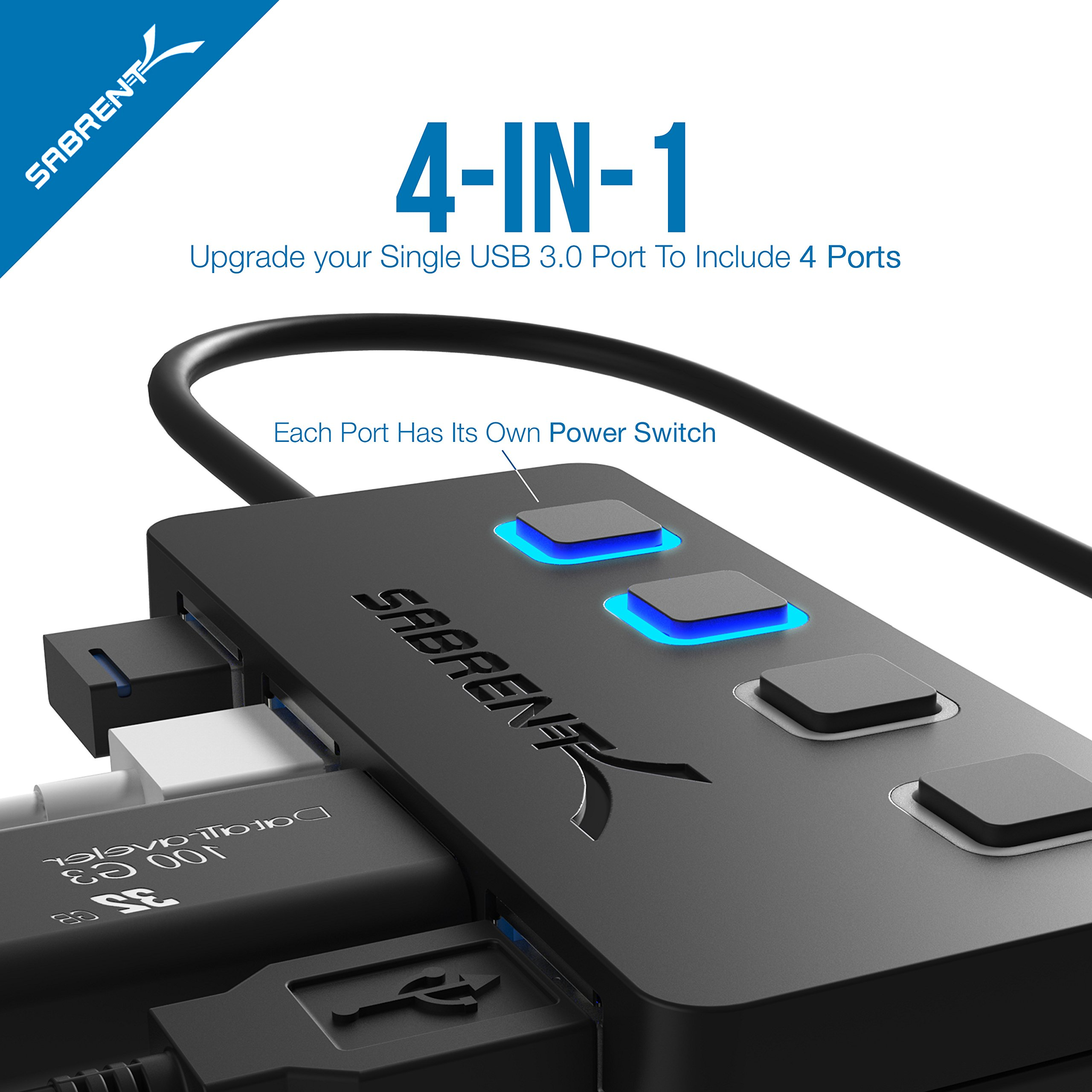 Sabrent USB Type C to 4-Port USB 3.0 Hub with Individual LED Lit Power Switches (HB-UMC4) by Sabrent (Image #3)