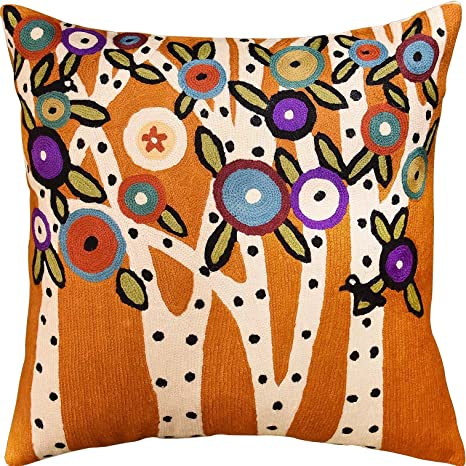 """Satin Floral Orange Embriodery 18x18/"""" Decorative//Throw Pillow Case//Cushion Cover"""