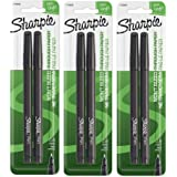 Sharpie 1742659 Fine Point Pens, Blister of 2 Pens, 3 Blisters, Total 6 Pens, Black Quick-drying Ink