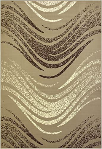 Modela Collection Waves Design Contemporary Modern Runner Area Rug Tan Brown, 22 x 6 10 Runner