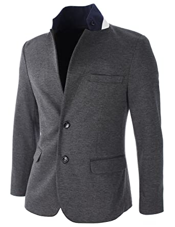 01648fdf10f FLATSEVEN Mens Slim Fit Stand Up Collar Casual Blazer Jacket at Amazon Men s  Clothing store