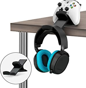 The Titan - Desktop Gamepad Controller & Headphone Hanger Holder - Designed for Xbox ONE, PS4, PS3, Dualshock, Switch, PC, Steelseries, Steam & More, Reduce Clutter, Black by Brainwavz