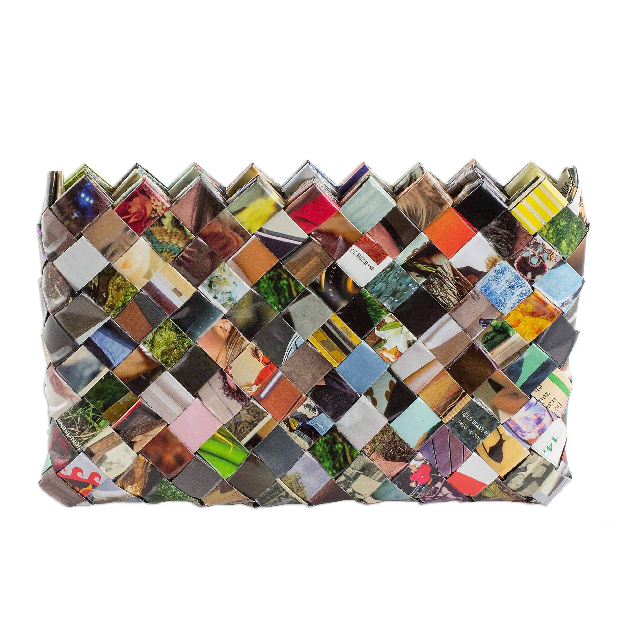 NOVICA Multicolor Recycled Magazine Clutch Bag, Fashion Fiesta' (6 inch)