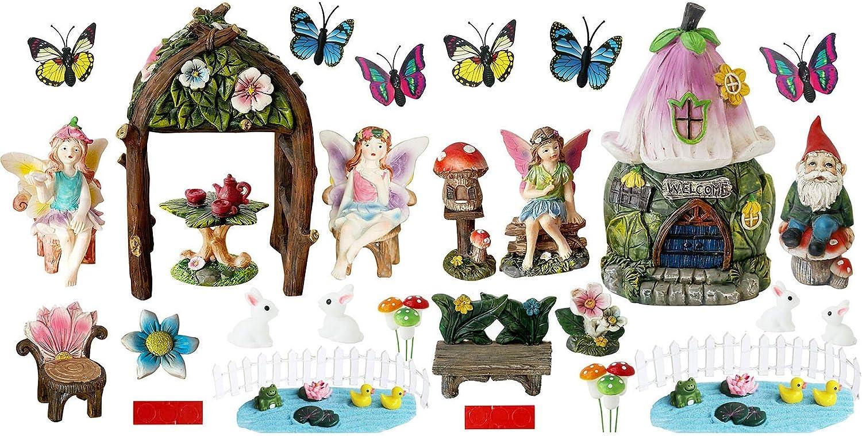 Miniature Fairy Garden Accessories Kit - 46PCS Miniature Flower Gnome Garden Kit Gnome Figurines Statue Set for Outdoor Fairy Garden Decoration Gardening Gifts for Girl Boy